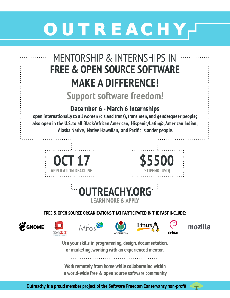 GNOME Outreachy 2016 flyer and Fedora